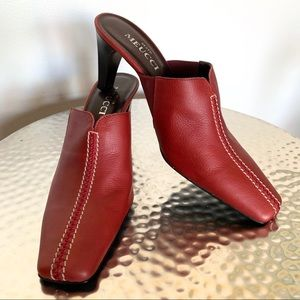 Nearly new red Sesto Meucci leather mules 7.5 #404